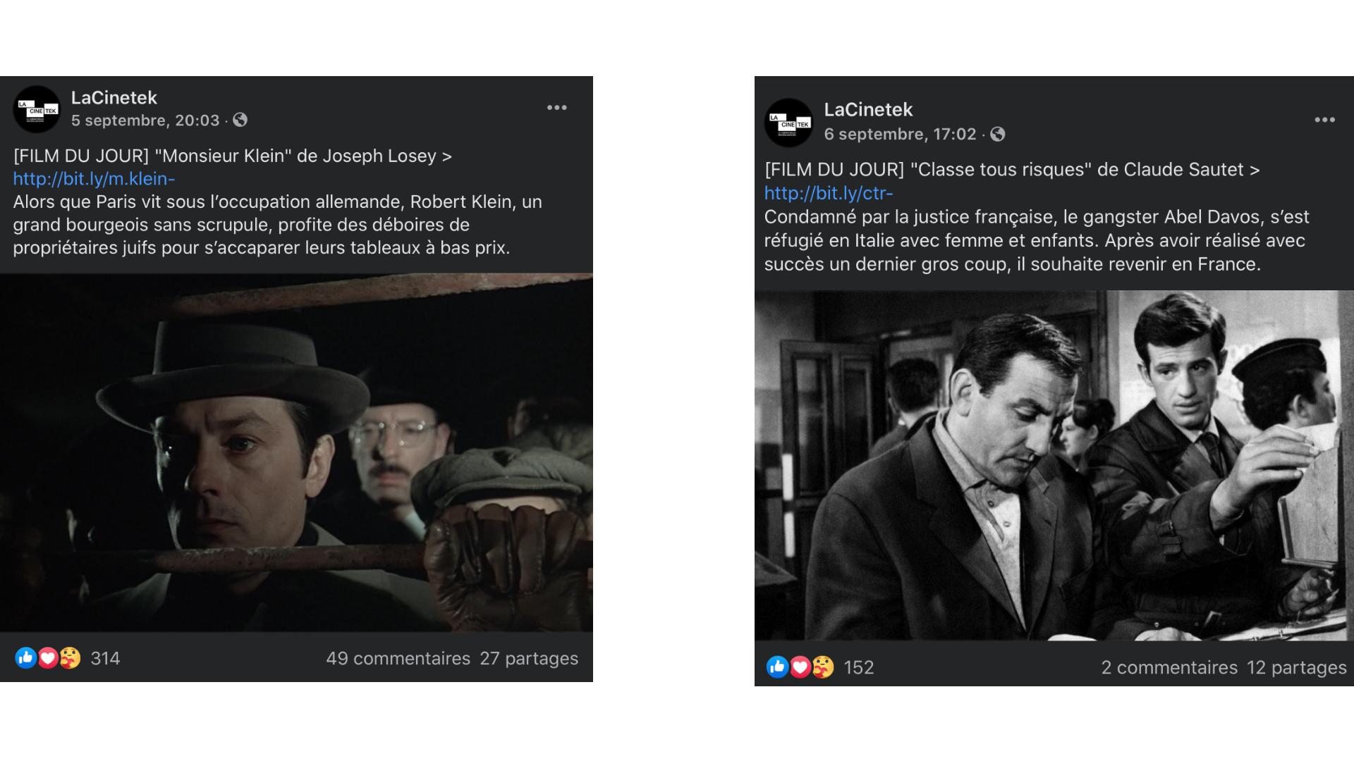captures écran réseaux sociaux LaCinetek