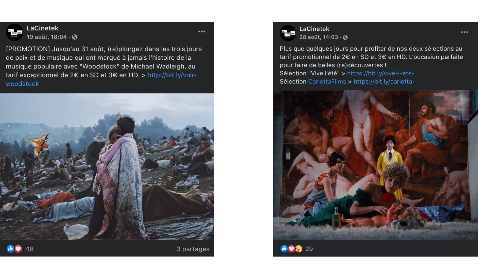 Facebook screens of LaCinetek company