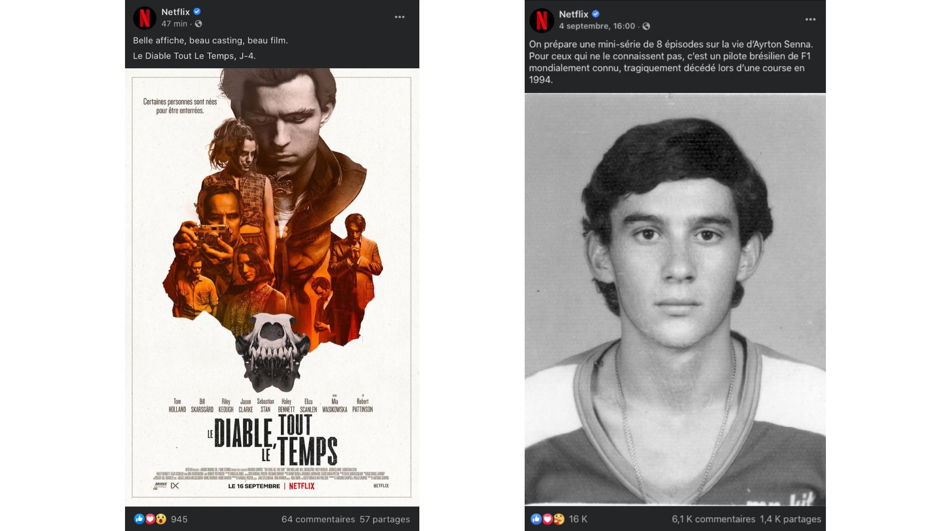 captures d'écran Facebook Netflix
