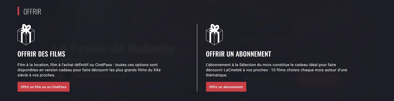 Offrir abonnements LaCinetek